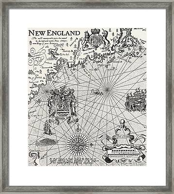 Part Of Captain J Smith's Map Of New England Framed Print