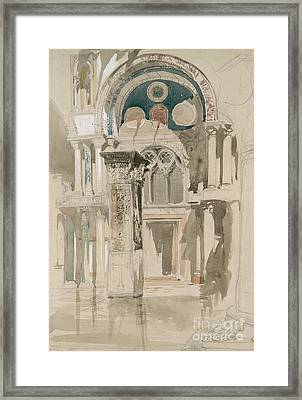 Part Of Saint Mark's Basilica, Venice  Sketch After Rain Framed Print by John Ruskin