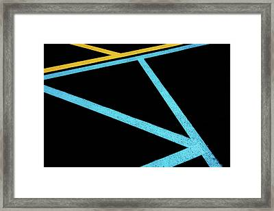 Framed Print featuring the photograph Partallels And Triangles In Traffic Lines Scene by Gary Slawsky