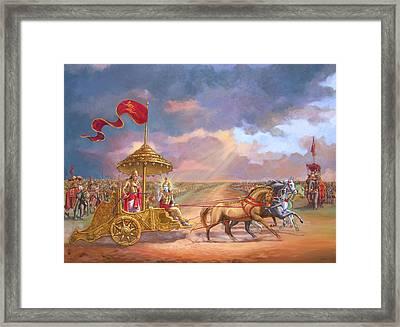 Partha Sarathi  Krishna Speaks The Bhagavad-gita To Arjuna Framed Print by Dominique Amendola