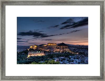 Parthenon And Acropolis At Dawn Framed Print