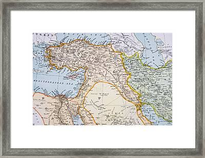 Partial Map Of Middle East In 1890s Framed Print by Vintage Design Pics