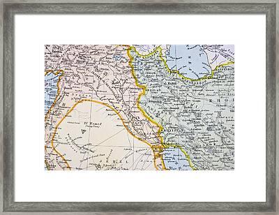 Partial Map Of Turkey Kurdistan Iraq Framed Print by Vintage Design Pics