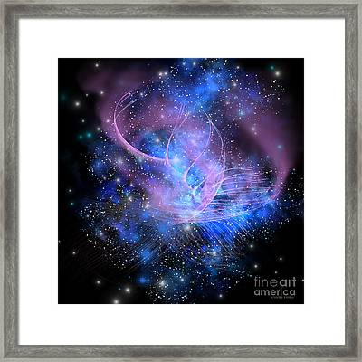 Particle Fountain Framed Print by Corey Ford