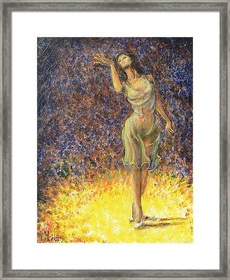 Framed Print featuring the painting Parting Dancer by Nik Helbig