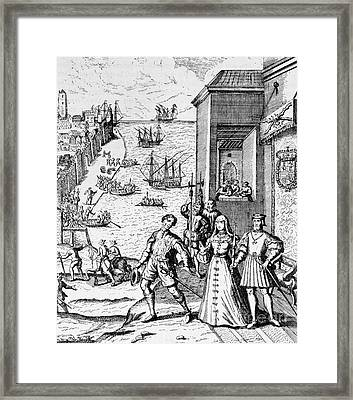 Parting Of Columbus With Ferdinand And Isabella Framed Print