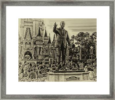 Partners Statue Walt Disney And Mickey In Black And White Framed Print by Thomas Woolworth