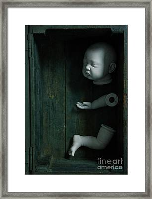 Framed Print featuring the photograph Parts Of A Plastic Doll In A Wooden Box by Lee Avison