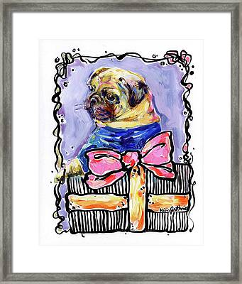 Party Animal Pug Painting By Kim Guthrie Art Framed Print