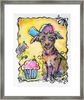 Party Animal Puppy Painting By Kim Guthrie Art Framed Print