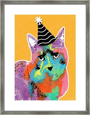 Party Cat- Art By Linda Woods Framed Print