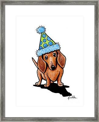 Party Dachshund Framed Print by Kim Niles