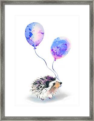 Party Hedgehog Framed Print by Krista Bros