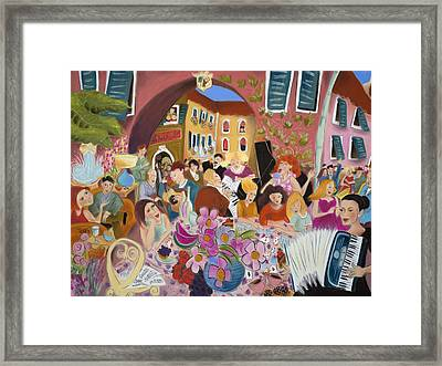 Party In The Courtyard Framed Print by Tatjana Krizmanic