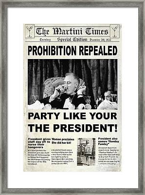 Party Like The President Framed Print by Jon Neidert