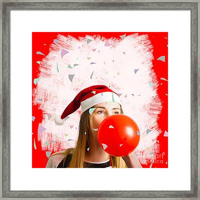 Party Planning Santa Girl At Christmas Event Framed Print by Jorgo Photography - Wall Art Gallery