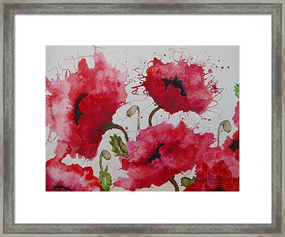 Framed Print featuring the painting Party Poppies by Karen Kennedy Chatham