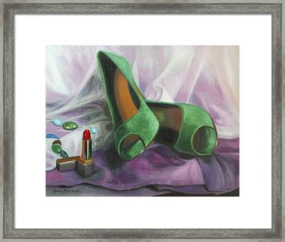Party Shoes Framed Print by Anna Rose Bain