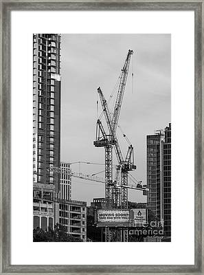 Party Time 2 Tower Cranes Atlanta Construction Art Framed Print