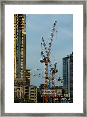 Party Time Tower Cranes Atlanta Construction Art Framed Print