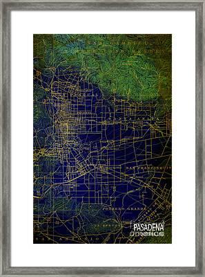 Pasadena Blue And Green Map Year 1896 Framed Print