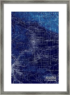 Pasadena California Old Map 1894 Blue Large Wall Art Framed Print