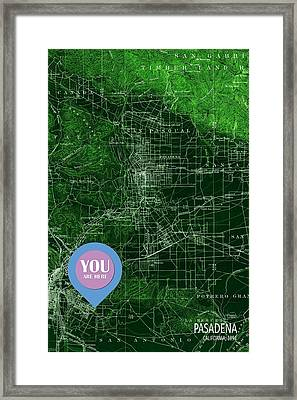 Pasadena California Old Map Blue Poster Framed Print by Pablo Franchi