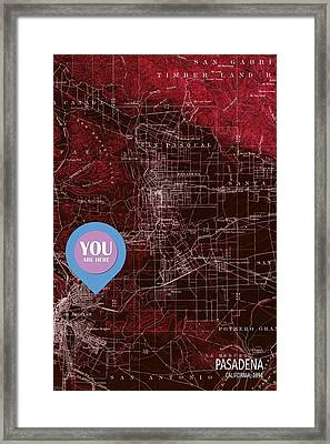 Pasadena California Red Old Map Framed Print by Pablo Franchi