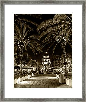 Framed Print featuring the photograph Pasadena City Hall After Dark In Sepia Tone by Randall Nyhof