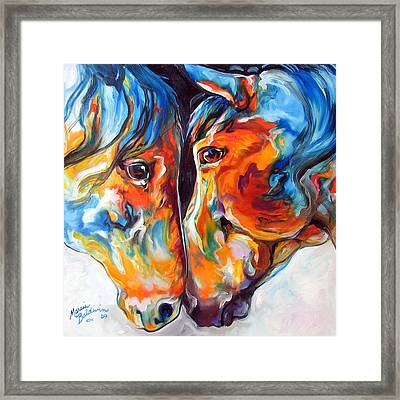 Paso Fino Friends Equine Abstract Art By M Baldwin Framed Print by Marcia Baldwin