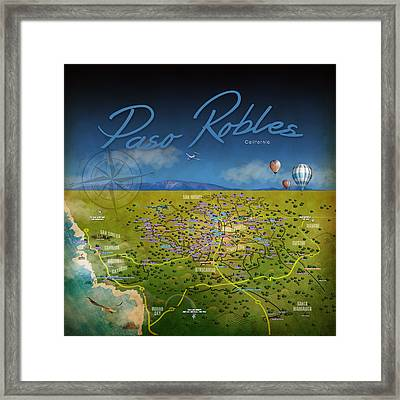 Framed Print featuring the digital art Paso Robles Wine Tasting by Cindy Anderson