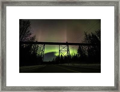 Pass Lake Train Trestle Aurora Framed Print
