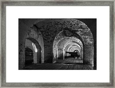 Passageways Of Fort Pulaski In Black And White Framed Print