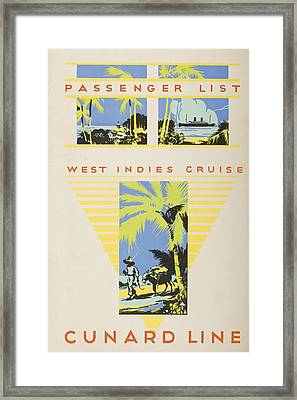 Passenger List, West Indies Cruise Framed Print by Vintage Design Pics