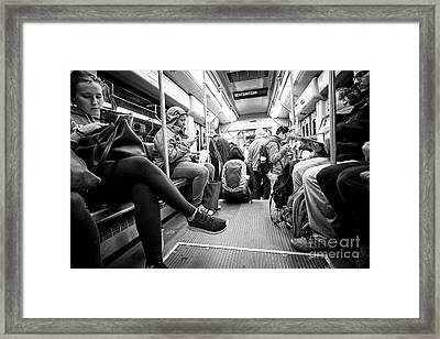 passengers on board Boston MBTA underground green line train USA Framed Print