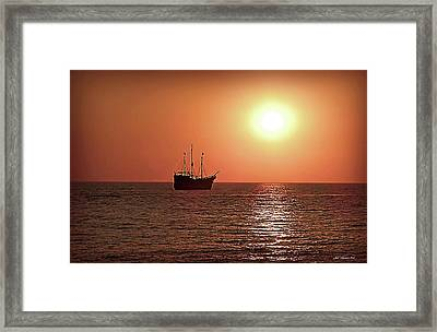 Framed Print featuring the photograph Passing By In Calm Waters by Joan  Minchak