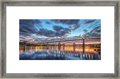 Passing Clouds Above Chattanooga Pano Framed Print by Steven Llorca