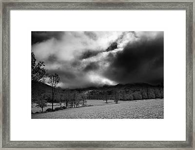 Framed Print featuring the photograph Passing Snow In North Carolina In Black And White by Greg Mimbs