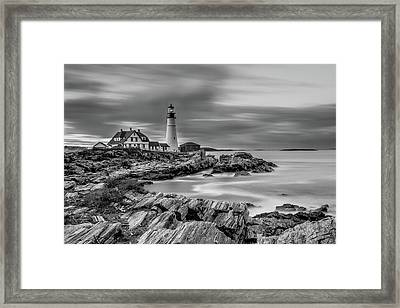 Passing Storm At Portland Head Light Framed Print