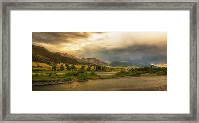 Passing Summer Storm, Yellowstone River, Paradise Valley, Absaroka Range, Montana Framed Print by Joel Corley
