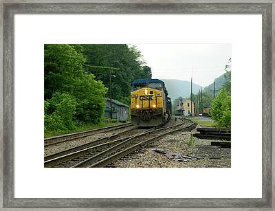 Passing Train Historic Passenger Train Depot Framed Print