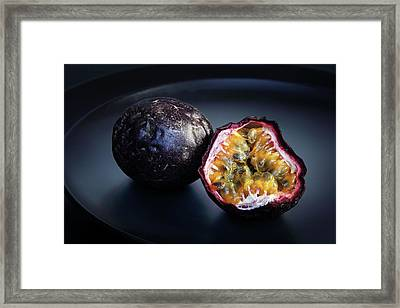 Passion Fruit On Black Plate Framed Print