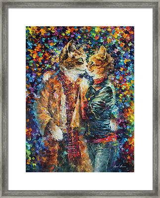 Passion Of The Cats  Framed Print by leonid Afremov