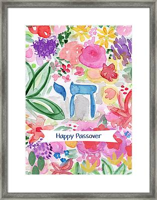 Framed Print featuring the mixed media Passover Chai- Art By Linda Woods by Linda Woods