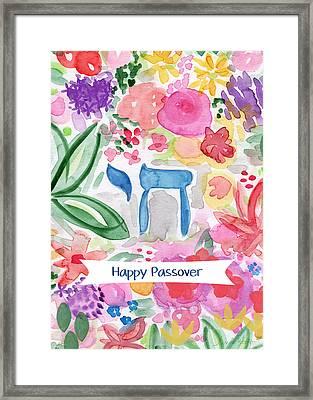 Passover Chai- Art By Linda Woods Framed Print