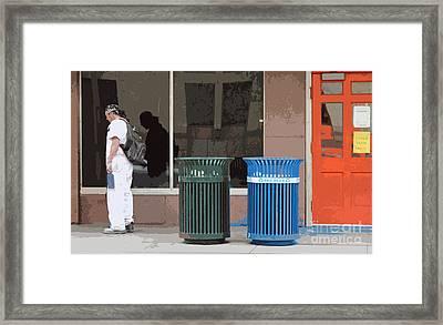 Past The Orange Door Framed Print