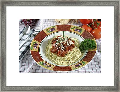 Pasta Dish With Meat Sauce Framed Print by Jack Dagley