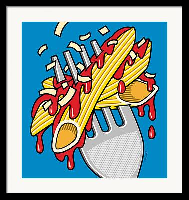 Spaghetti Noodles Digital Art Framed Prints