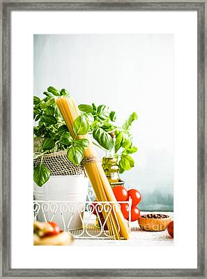 Pasta With Ingredients Framed Print