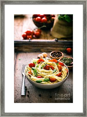 Pasta With Olive Oil  Framed Print by Mythja Photography